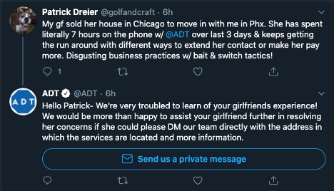 ADT Customer Experience tweet
