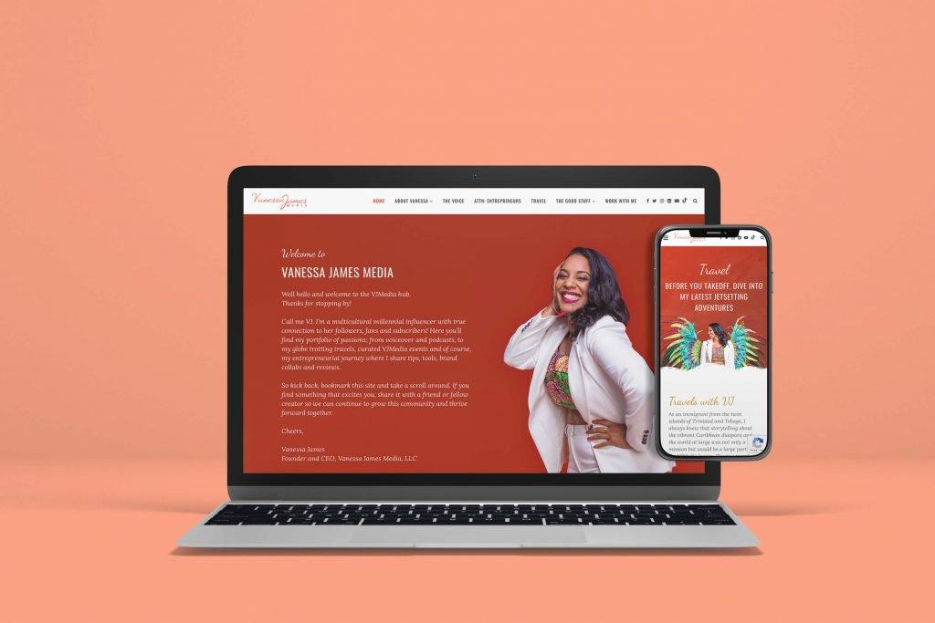Vanessa James Media Website Designed by Camille Vogl